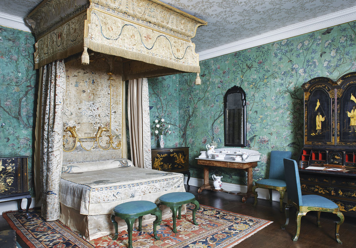 State bedroom, 1770s; bed upholstered with Chinese silk and imitation lacquer chairs 1720s.